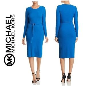 NWT MICHAEL KORS Long Sleeve Ribbed Knit Dress